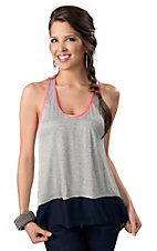 Vintage Havana® Women's Grey Knit with Navy Chiffon and Pink Trim Hi-Lo Fashion Tank Top