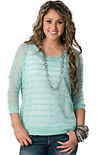 Vintage Havana® Women's Mint Shadow Stripe Long Sleeve Sweater Knit Fashion Top