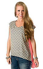 Vintage Havana® Women's Coral, Cream and Grey Zig Zag Hi-Lo Short Sleeve Fashion Top