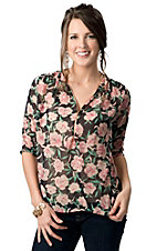 Vintage Havana® Women's Navy with Pink and Green Floral Print Zipper Front 3/4 Sleeve Fashion Top