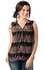 Vintage Havana® Women's Black and Pink Tie Dye Zip Sleeveless Fashion Top