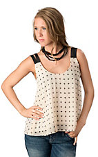 Vintage Havana® Women's Ivory w/ Black Cross Print Chiffon Sleeveless Fashion Top