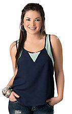 Vintage Havana® Women's Navy & Mint Chiffon Racer Back Sleeveless Fashion Top