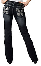 Rock & Roll Cowgirl® Women's Dark Wash Zebra Crystal X Low Rise Boot Cut Jean