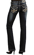 Rock & Roll Cowgirl® Women's Dark Wash Leather Lightning Bolt Flap Pocket Low Rise Boot Cut Jean