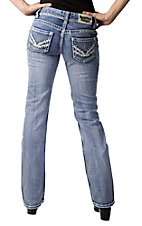 Rock & Roll Cowgirl® Women's Light Stonewash with Thick Stitching and Silver Studs Boot Cut Jeans
