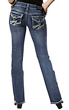 Rock & Roll Cowgirl® Women's Medium Denim w/ Lightning Bolt Stitch Flap Pocket Low Rise Boot Cut Jean- 34in Inseam