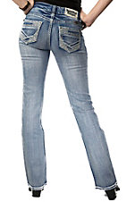 Rock & Roll Cowgirl® Women's Light Wash Rhinestone Embroidered Low Rise Boot Cut Jean- 34in Inseam