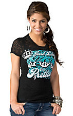 Rebel Rose® Junior's Black with Turquoise & White Just LIke You Only Prettier Burnout Short Sleeve Tee
