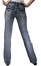 Rock & Roll Cowgirl® Women's Light Denim w/ Embroidery & Nailheads Flap Pocket Mid Rise Boot Cut Jean- 34in Inseam