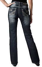 Rock & Roll Cowgirl® Women's Dark Wash Feather Embroidered Mid Rise Boot Cut Jean