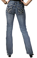 Rock & Roll Cowgirl® Women's Light Denim w/ Diamond Shape Flap Pocket Mid Rise Boot Cut Jean- 34in Inseam