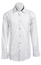 Roar Men's White Copious Embroidered Long Sleeve Western Shirt
