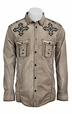 Roar® Men's Khaki Torch Embroidered Long Sleeve Western Shirt