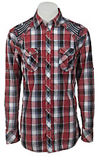 Roar® Men's Ace Embroidered Red & Blue Plaid Long Sleeve Western Shirt