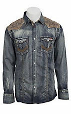 Roar® Men's Hands on Denim w/ Contrast Yoke Long Sleeve Western Shirt W51701