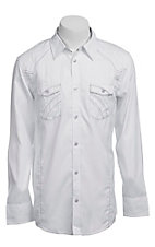 Roar Men's White Reality Embroidered Long Sleeve Western Shirt
