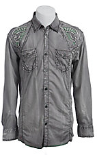 Roar� Men's Grey Boost Embroidered Long Sleeve Western Shirt