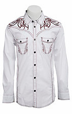 Roar® Men's Out West II White with Maroon Embroidery Long Sleeve Western Shirt