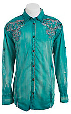 Roar Men's Winsom Green Embroidered Long Sleeve Western Shirt