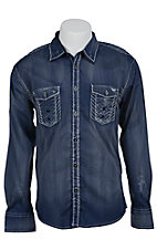 Roar Men's Navy Tactful Embroidered Long Sleeve Western Shirt