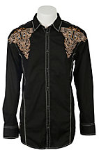 Roar Men's Black Sepulveda Embroidered Long Sleeve Western Shirt