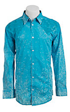 Roar Men's Blue Passenger Embroidered Long Sleeve Western Shirt