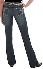 Rock 47™ by Wrangler® Women's Silver & Black Swirl & Cross Embroidered Ultra Low Rise Jeans