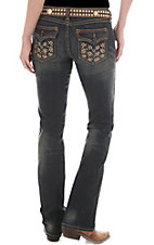 Rock 47™ by Wrangler® Women's Bronze Studded Flap Pocket Ultra Low Rise Jeans