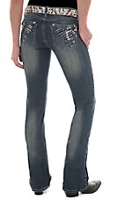 Rock 47™ by Wrangler® Women's Black & Silver Stud Fleur De Lis Ultra Low Rise Boot Cut Jeans