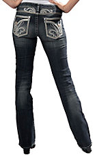 Rock 47™ by Wrangler® Women's Fleur de Lis Stitch Ablong Flap Pocket Boot Cut Jeans