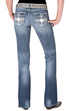 Rock 47™ by Wrangler® Women's Silver Embroidered Rose Cross Boot Cut Jeans