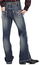 Rock 47™ by Wrangler® Girls' Black & Silver Fleur De Lis Jean - Sizes 4-6 Slim Fit