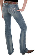 Rock 47™ by Wrangler® Women's Fleur De Lis Open Ablong Flap Pocket Low Rise Boot Cut Jeans