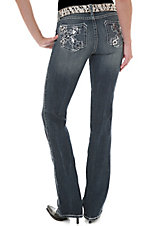 Rock 47™ by Wrangler® Women's Embroidered Silver & Black Rhinestud Cross Low Rise Jeans