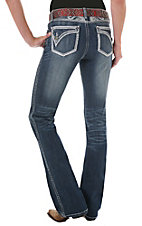 Rock 47™ by Wrangler® Women's Thick Stitch Ablong Flap Pocket Low Rise Boot Cut Jeans