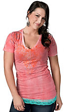 Roar® Women's Ari Pink with Fancy Embroidery and Turquoise Lace Short Sleeve Tee