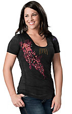 Roar® Women's Reviver Black with Pink, Yellow and Purple Embroidery Short Sleeve Tee