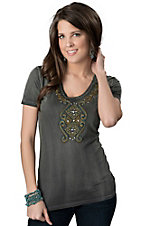 Roar® Women's Arena Gray with Turquoise and Gold Cross Embroidery, Rhinestones and Studs Short Sleeve Tee