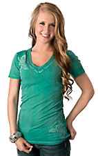 Roar® Women's Imagined Green Embroidered Short Sleeve V-Neck Tee