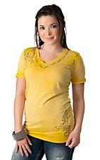 Roar® Women's Imagined Yellow Embroidered Short Sleeve V-Neck Tee