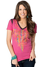 Roar® Women's Aquarius Pink and Rainbow with Embroidery and Rhinestones Short Sleeve V-Neck Tee