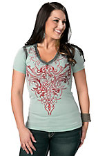 Roar® Women's Aquarius Sky Blue with Red Embroidery and Rhinestones Short Sleeve V-Neck Tee