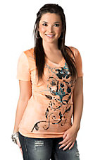 Roar® Women's Stagecoach Orange Floral Print Short Sleeve V-Neck Tee