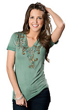 Roar® Women's Ikat Get Enough Green with Embroidery and Rhinestones Short Sleeve V-Neck Tee