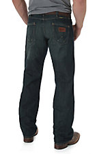 Wrangler Retro Men's Worn Black Relaxed Fit Boot Cut Jean- Tall Length