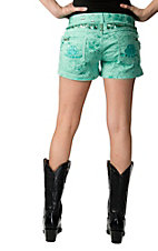 Roar® Women's Turquoise with Sequins, Crystals and R Embroidered Open Pockets Shorts