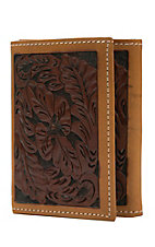Tony Lama Trifold Brown Floral Tool with Tan Trim Wallet WTL171