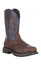 Wolverine Mens Brown Javelina w/ Blue Top Square Steel Toe Wellington Work Boots
