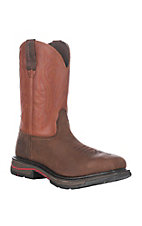Wolverine Mens Brown Javelina w/ Red Top Square Steel Toe Wellington Work Boots